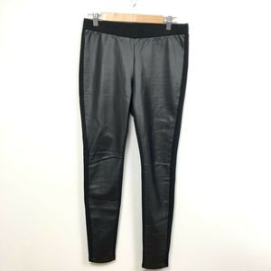Trouve Black Faux Leather Moto Pants Leggings